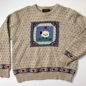 Eddie Bauer Vintage Wool Sheep Pullover Sweater